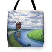 Holland Windmill Bike Path Tote Bag