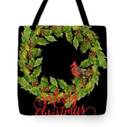Holly Christmas Wreath And Cardinal Tote Bag