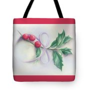 Holly Sprig With Bow Tote Bag