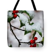 Holly Tree And Snow Tote Bag