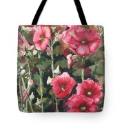 Hollyhocks Along The Fence Tote Bag
