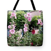 Hollyhocks Taos New Mexico Tote Bag