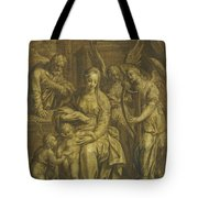 Holy Family With Angels Tote Bag
