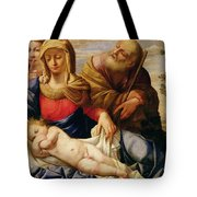 Holy Family With Two Female Figures Tote Bag
