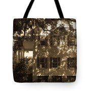 Mcleod Plantation Home In Black And White Tote Bag