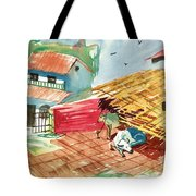 A Back Yard With A Cow Shade And A Cow And A Calf  Tote Bag