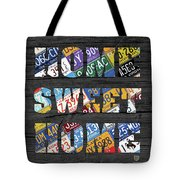 Home Sweet Home Rustic Vintage License Plate Lettering Sign Art Tote Bag