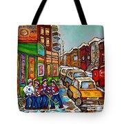 Home Town Painting St Viateur Bagel Street Scene Coca Cola Truck Montreal 375 Carole Spandau Art     Tote Bag