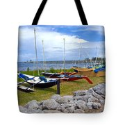 Homemade Outriggers Canoes On The Indian River Lagoon In Florida Tote Bag