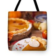 Homemade Pumpkin Pie On A Rustic Table With Autumn Decorations Tote Bag