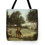 Homer And The Shepherds In A Landscape Tote Bag