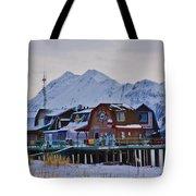 Homer Spit Board Walk Winter Moments Tote Bag