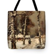 Homeward Through The Winter Forest Tote Bag