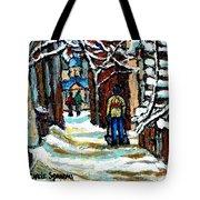 Buy Original Paintings Montreal Petits Formats A Vendre Scenes Man Shovelling Snow Winter Stairs Tote Bag