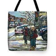 Rue Cote St Catherine Peintures Petit Format A Vendre Scenes De Ville Montreal Street Scenes  Tote Bag