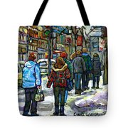 Promenade Au Centre Ville Rue Ste Catherine Montreal Winter Street Scene Small Paintings  For Sale Tote Bag