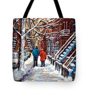 Promenade En Hiver Winter Walk Scenes D'hiver Montreal Street Scene In Winter Tote Bag