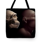 Homo Erectus With Skull Tote Bag