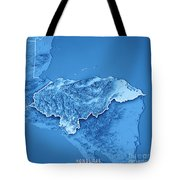Honduras Country 3d Render Topographic Map Blue Border Tote Bag