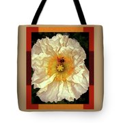Honey Bee In Stunning White And Gold Flower Tote Bag