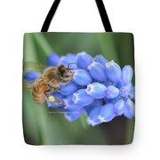 Honey Bee On Blue Flowers Tote Bag