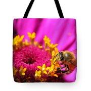 Honey Bee Pollinating Zinnia Tote Bag
