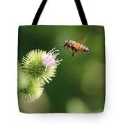 Honeybee Flying To Thistle  Tote Bag