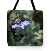 Honeybee On Blue Daze Tote Bag