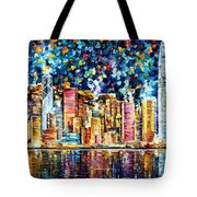 Hong Kong - Palette Knife Oil Painting On Canvas By Leonid Afremov Tote Bag