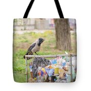 Hooded Crow With Garbage Tote Bag