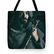 Hooded Man With Axe Tote Bag