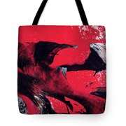 Hope - Red Black And White Abstract Art Painting Tote Bag