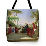 Horatius Reading His Satires To Maecenas Tote Bag by Fedor Andreevich Bronnikov