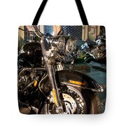 Horizontal Front View Of Fat Cruiser Motorcycle With Chrome Fork Tote Bag