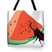 Horn Beetle Is Eating A Piece Of Red Watermelon Tote Bag