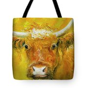Horned Cow Painting Tote Bag