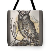 Horned Owl And Pine Tote Bag