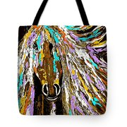 Horse Abstract Brown And Blue Tote Bag