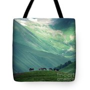 Horse Among The Mountains Of Georgia Tote Bag