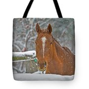 Horse And Snowflakes Tote Bag