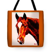 Horse Art Horse Portrait Maduro Red With Yellow Highlights Tote Bag