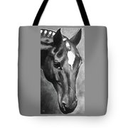 Horse Art Horse Portrait Red Black And White Tote Bag