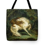 Horse Attacked By A Lion Tote Bag