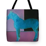 Horse, Blue On Lavender Tote Bag