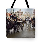 Horse Drawn Carriages And Women On Horseback Riding Sidesaddle O Tote Bag