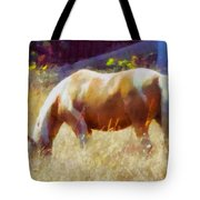 Horse In Field Tote Bag