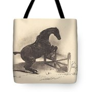 Horse Jumping A Barrier Tote Bag