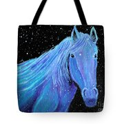 Horse-midnight Snow Tote Bag