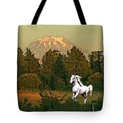 Horse Mountain And Barn Tote Bag
