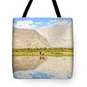 Horse On Lake Tote Bag